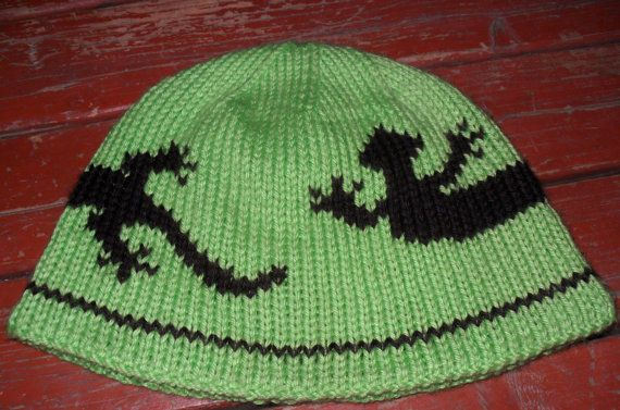 Double Knitting Hat Pattern : Lizard Double knit hat pattern and chart in 3 sizes