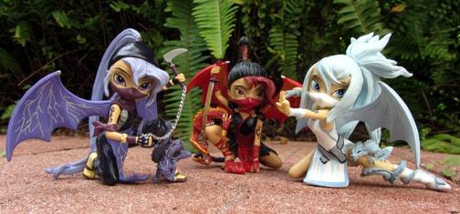 Ninja dragon faries: Got Yuriko (red) for Christmas and just picked up Hotaru (purple) and Taki (light blue) yesterday