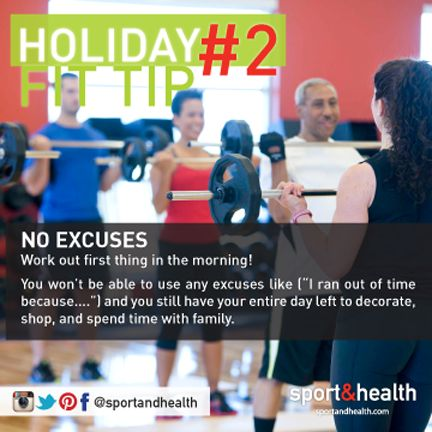 No excuses! Get your workout in first thing in the morning. Checking it off early makes you feel great, and eliminated all excuses to not get it in later in the day!