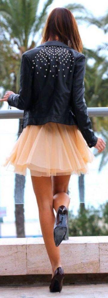 Apricot Tulle Midi Skirt + Black Moto.