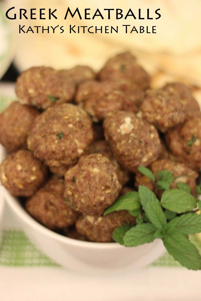 Greek Meatballs | Kathy's Kitchen Table | Recipes To Try | Pinterest