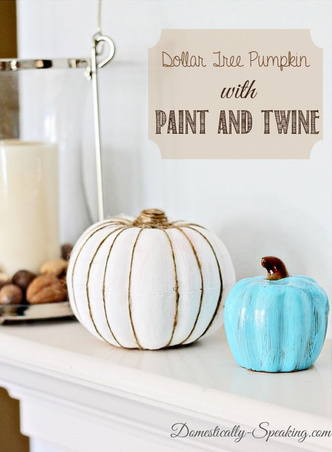 Painted Pumpkin with Twine - Domestically Speaking
