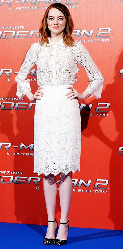Emma Stone embraced lace at The Amazing Spider-Man: Rise of Electro Rome photocall in ivory ladylike lace Dolce & Gabbana separates, pairing them with demure ankle-strap sandals.