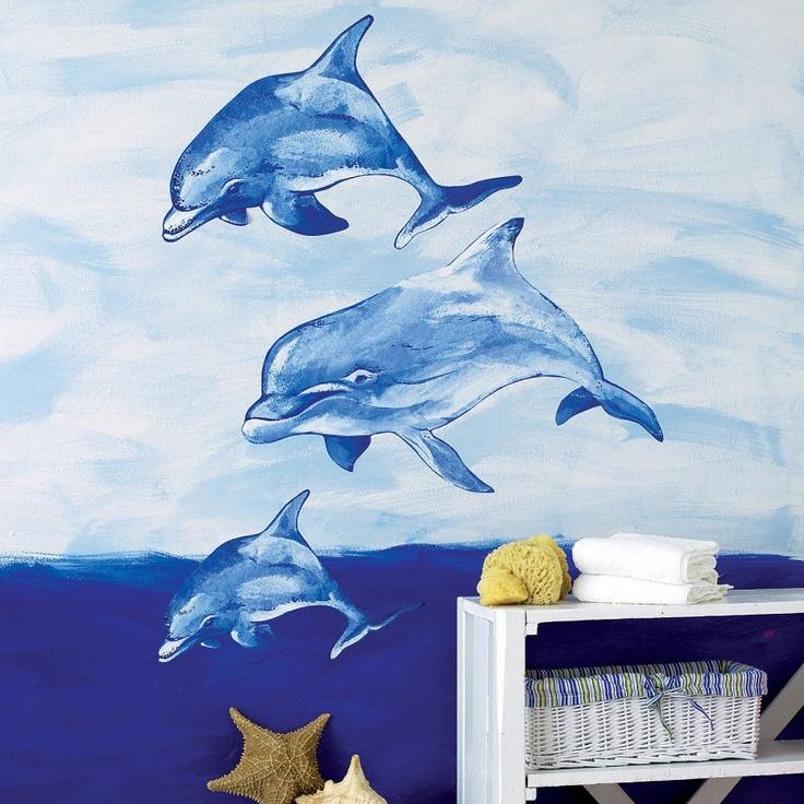 Wallies murals 2017 grasscloth wallpaper for Dolphin mural wallpaper