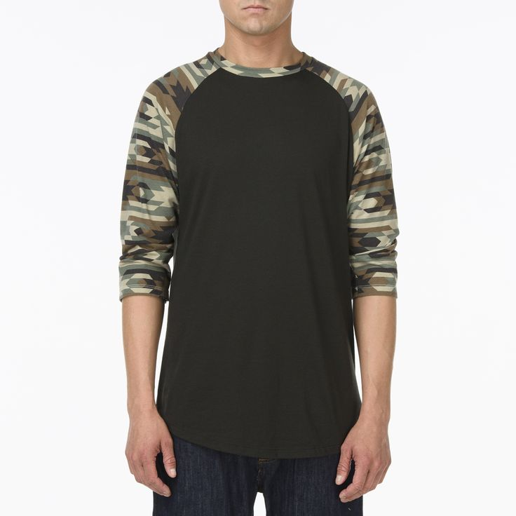 Couper baseball teee in Black/Native Camo
