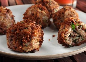 Boudin balls, a spicy cajun concoction of meat and rice and other ...