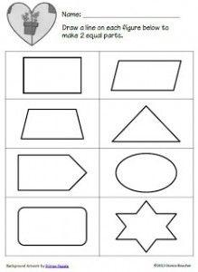 Fraction worksheet- split shapes into equal halves | 1st Grade Math ...
