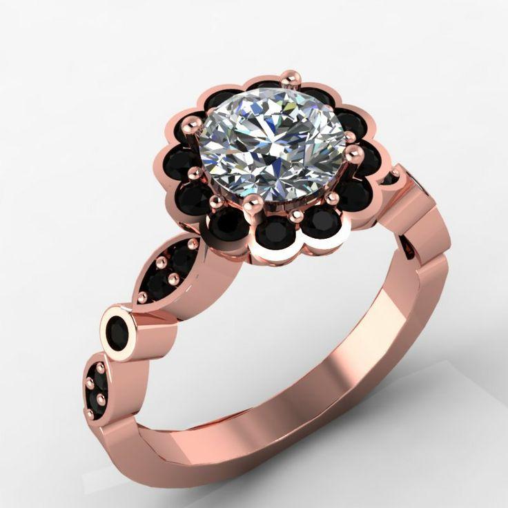 14K Rose Gold Black Diamond Engagement Ring with Moissanite Center