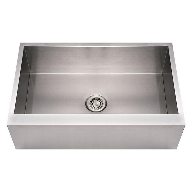 Front Apron Stainless Steel 33x21x10 0-Hole Single Bowl Kitchen Sink ...