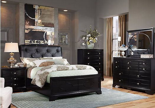 Place Black 5 Pc King UpholsteredBedroom at Rooms To Go. Find Bedroom ...