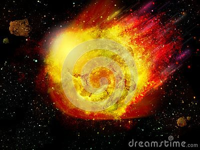 flaming asteroid hitting the earth - photo #16