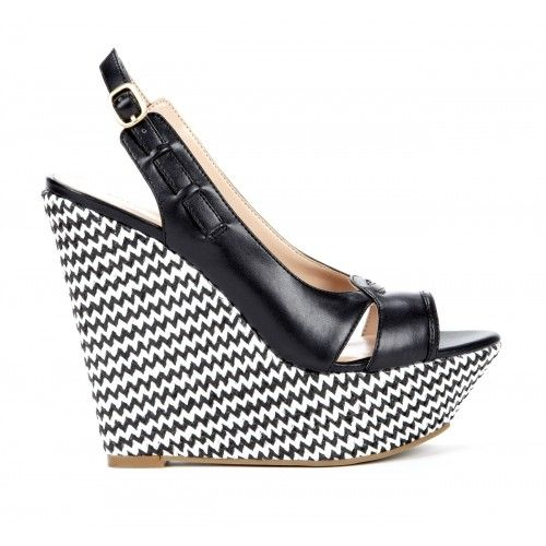 black and white chevron wedges