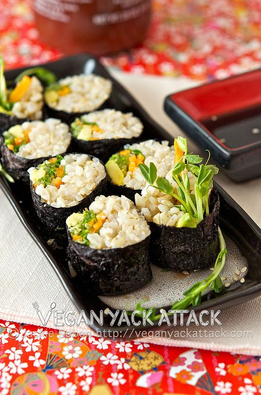 Brown Rice Veggie Roll from @VeganYackAttack :-) I am loving the idea ...