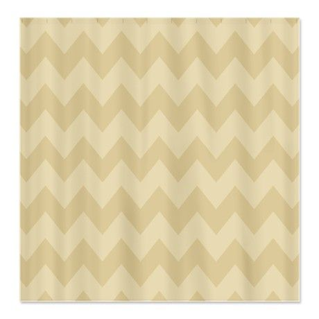 Tan And Beige Chevron Shower Curtain On