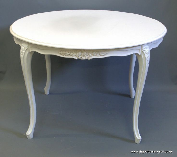 French Style Shabby Chic Round Distressed White Dining Table