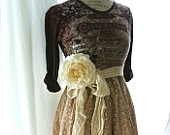 Gypsy cowgirl fall dress, funky womens clothing, upcycled country chic