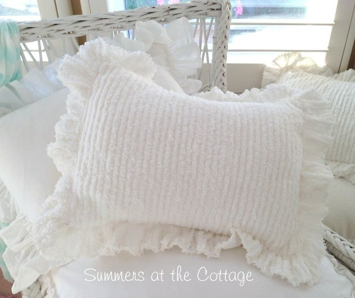 Shabby Chic Chenille Pillows : Rachel ashwell shabby chic treasures white ruffled chenille pillow