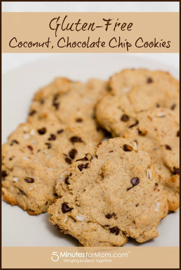 Gluten Free, Coconut, Chocolate Chip Cookies #cookies #recipe #CoconutOil