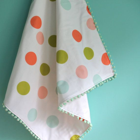 NEW confetti blanket with mint pom pom trim exclusive by iviebaby ... oh the cuteness.