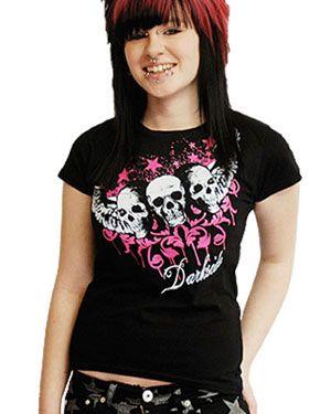 ROCKER CLOTHING WOMENS | Darkside Winged Skull Trio Tee
