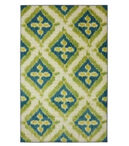 Teal Blue Lime Green GEOMETRIC IKAT Area Rug Carpet 5X8