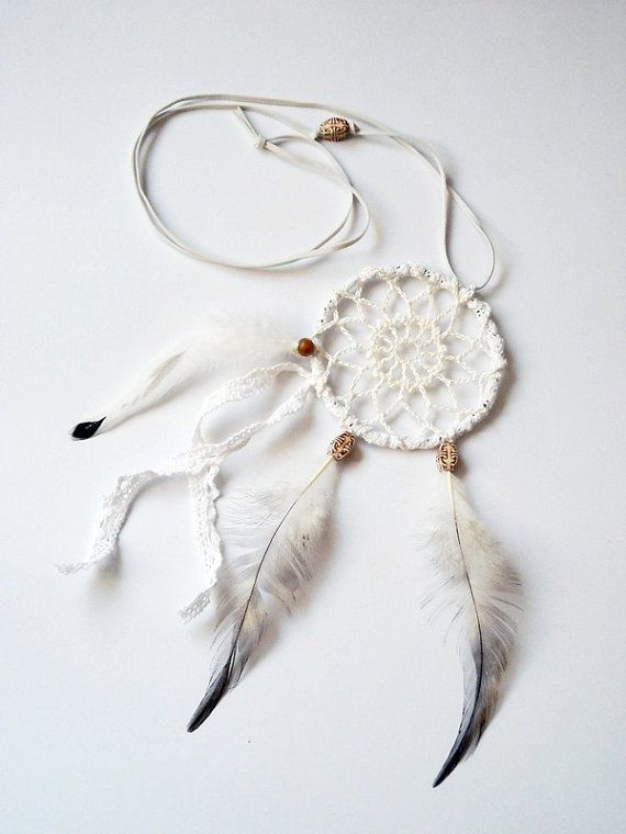 Dream catcher crochet lace necklace white tribal beaded, feather jewe ...