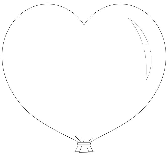 heart balloon coloring pages - photo #2