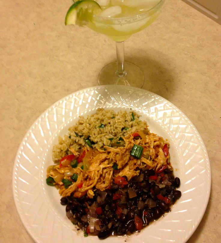 My version of Chicken Ropa Vieja , Cilatro Lime Rice, and Black Beans ...