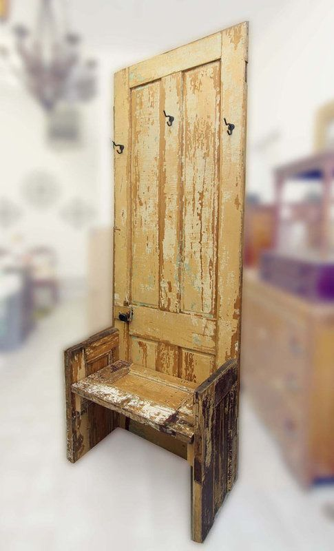 Reclaimed Door Coat Tree Bench