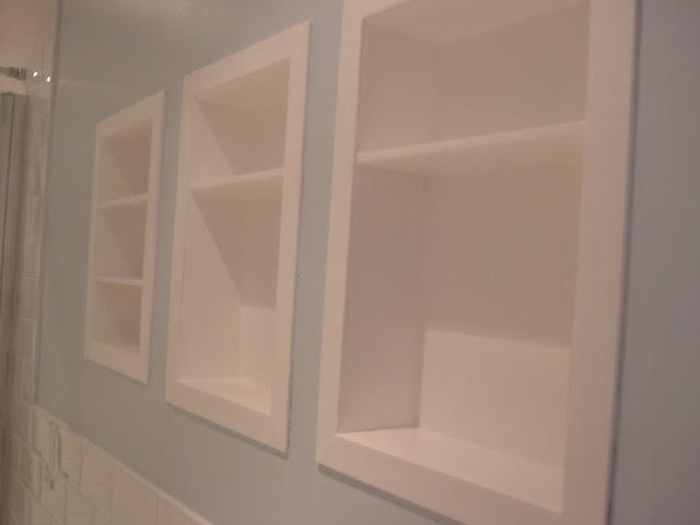Built in shelves in bathroom