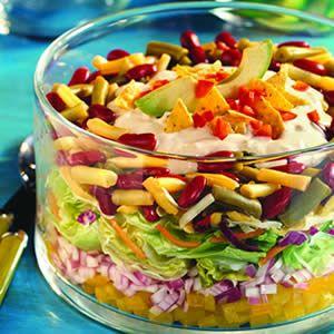 Tex-Mex Layered Bean Salad Recipe | salads | Pinterest
