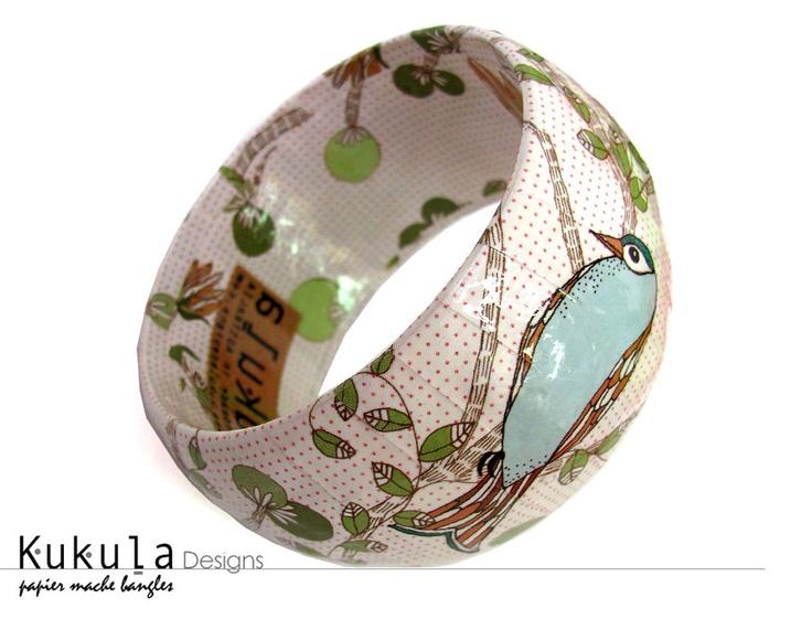 Paper mache bangle kakadu for How to make paper mache jewelry
