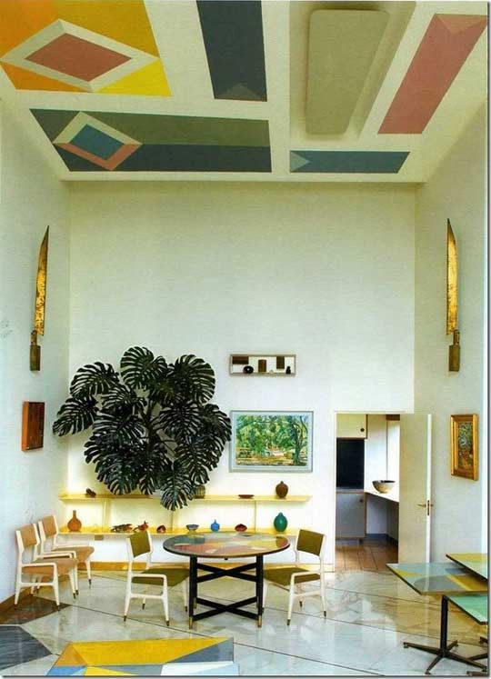 Mid century interior by Gio Ponti in the Villa Planchart.
