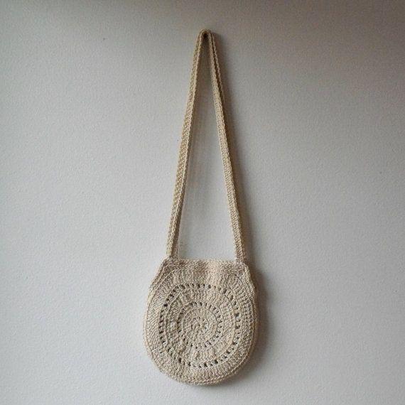 Vintage Crochet Bag : Vintage Crochet Bag : Handknit Boho Shoulder Bag on Etsy, $15.00