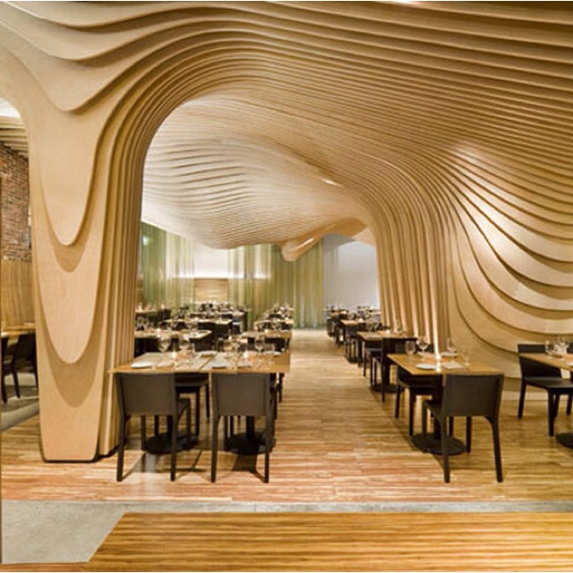 Cool restaurant design meander pinterest for Interior design places near me