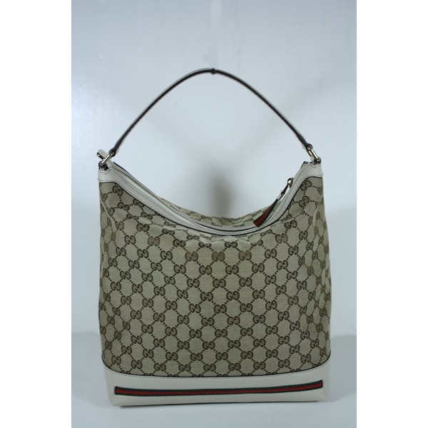 Gucci Handbags Beige and White Leather 257064 ($895) via Polyvore