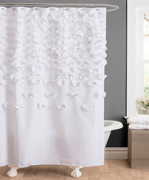 White Lucia Shower Curtain