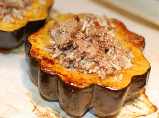 Moroccan-Style Stuffed Acorn Squash with lamb and rice is a perfect ...