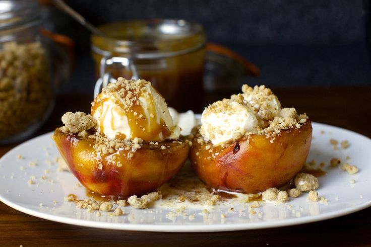 grilled peach splits with crumble and salted, caramel bourbon sauce ...