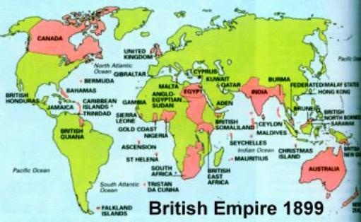 ... map shows the Empire in 1899, two years before Queen Victoria's died
