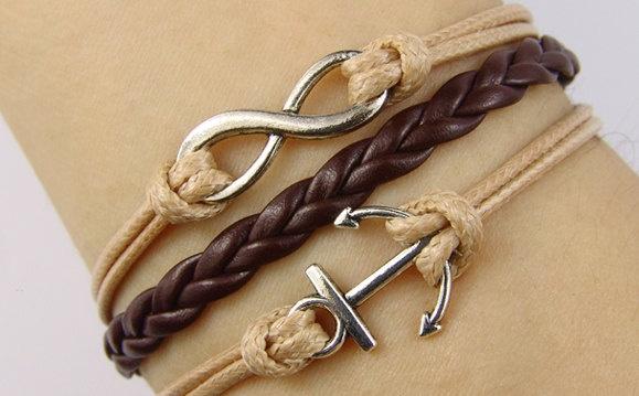 infinity bracelet, anchor bracelet, vintage bracelet leather bracelet