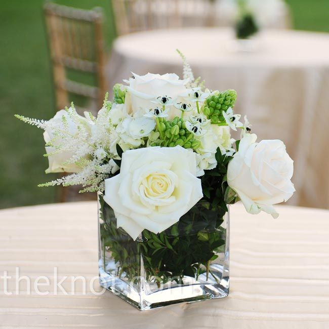 White rose centerpieces th anniversary flowers pinterest