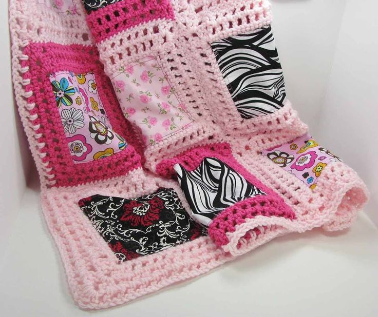 Crochet and Fabric block inspiration Fusion blanket crochet Pinte ...
