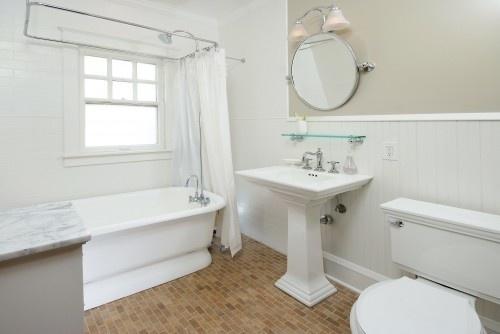 Subway tile floor | Bathroom | Pinterest
