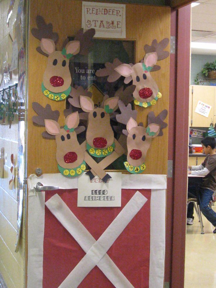 Reindeer classroom door decoration just b cause for Door mural ideas