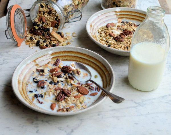 Maple, Almond & Pecan Granola with Blueberries #recipe #granola # ...