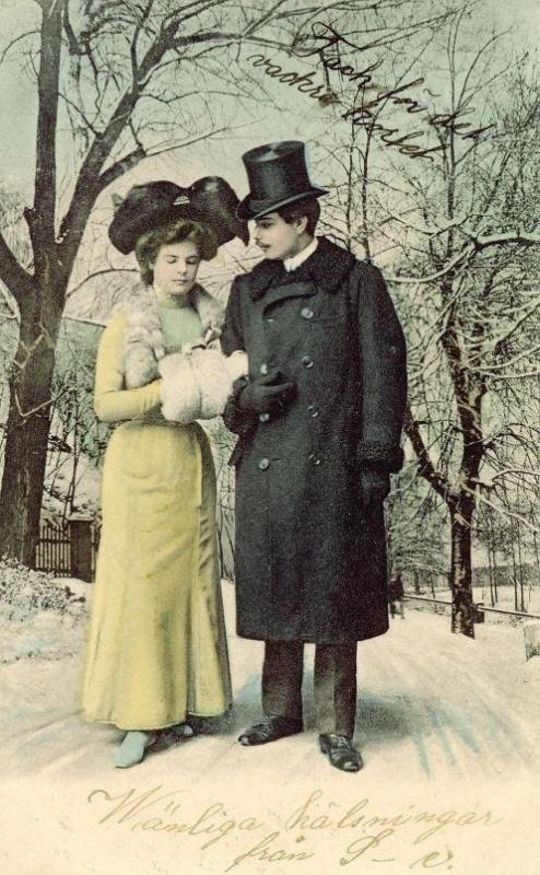 Victorian Couple Photo Postcard