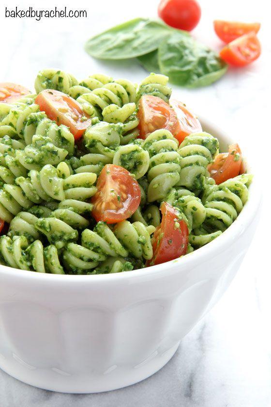 Easy spinach-pesto pasta salad recipe from @bakedbyrachel
