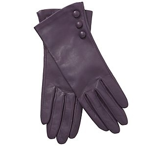 Silk-lined leather gloves, shown here in purple, but available in several colours. And in four sizes.  Buttons. Beautiful. £39