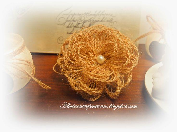 Flor de tela de saco diy pinterest - Tela de saco ...